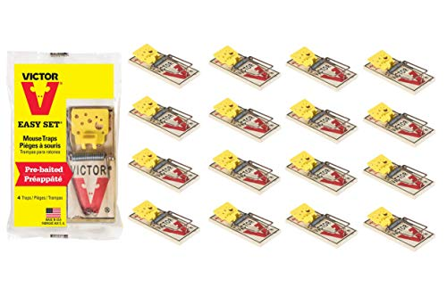 Victor Easy Set Mouse Trap 4 Pack M033 - Wooden Easy Set Mouse Trap - Prebaited, 16 Traps Total       ()