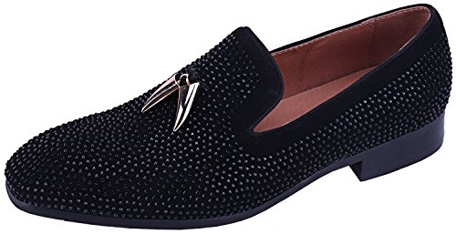 Metal with Black Fix Loafers Velvet Leather Hot Dress Gold Men's Men Shoes ELANROMAN Fashion Suede Loafers for TZpWII