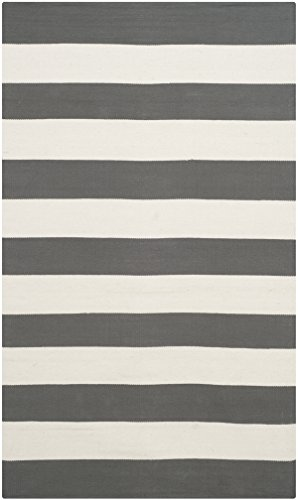 Safavieh Montauk Collection MTK712G Handmade Flatweave Grey and Ivory Cotton Area Rug (3' x - Contemporary Rug Grey