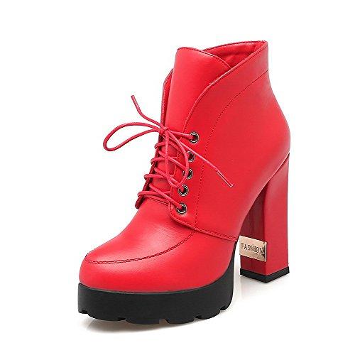AgooLar Women's Solid PU High-Heels Lace-up Round Closed Toe Boots Red v5l5DQDQU