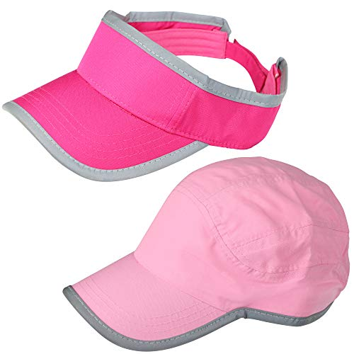 2 Pack – Women Sun Hats, Includes Visor and Running Cap, Workout Accessories, Great for Sports, Walking, Running, Golf, Tennis, Beach | Moisture Wicking Material, Quick Dry, Adjustable Fit, Pink