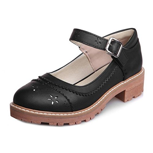Ankle Sweet Shoes Print Pumps Black Girl Women KemeKiss Fashion School Strap RF6WqT70w