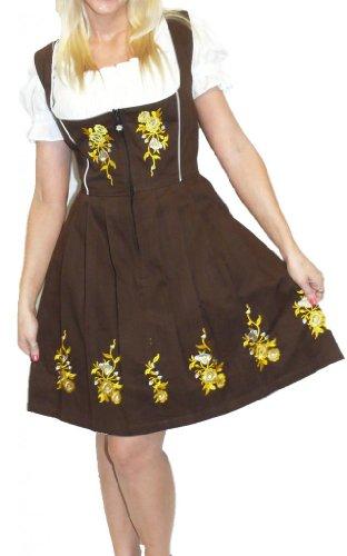 Dirndl Trachten Haus 3-Piece Short German Wear Party Oktoberfest Waitress Dress 16 46 Brown by Dirndl Trachten Haus (Image #1)