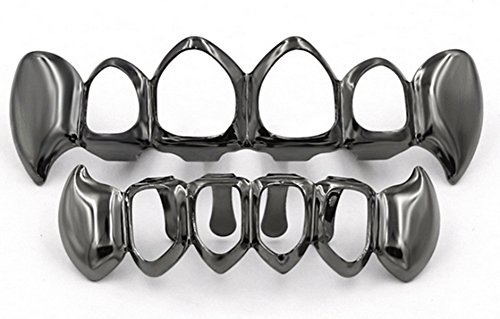 Set Black Grillz (New Custom Fit 14k Gold Plated Four Hollow Open Face Teeth Grillz Caps Top & Bottom Grill Set (Black))