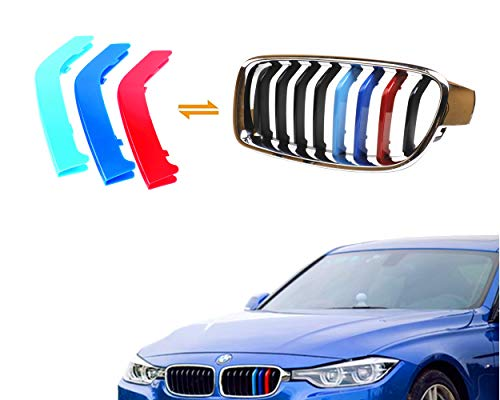 Jackey Awesome Exact Fit ///M-Colored Grille Insert Trims For 2013-2017 BMW F30 F31 3 Series 320i 328d 328i 335i M-Performance Black Kidney Grilles (For BMW 2013-2017 3 Series,8 Beams)