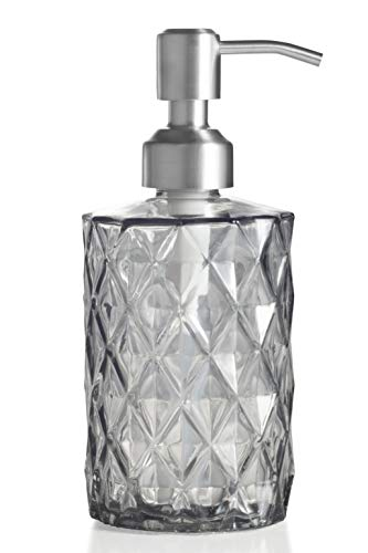 Easy-Tang Soap Dispenser for Kitchen, Bathroom - Refillable Wash Hand Liquid Clear Glass Bottle, Colored Jar with Stainless Steel Pump, Ideal for Dish Detergent, Essential Oil, Shampoo Lotion (Grey)