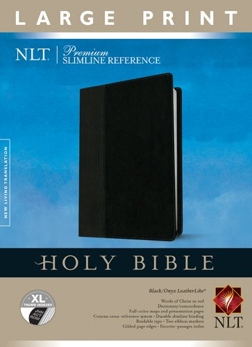Premium Slimline Reference Bible NLT, Large Print, TuTone (Red Letter, LeatherLike, Black/Onyx, Indexed)