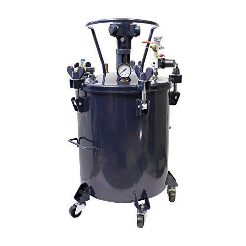 TCP Global Commercial 10 Gallon (40 Liters) Spray Paint Pressure Pot Tank with Air Powered Mixing Agitator