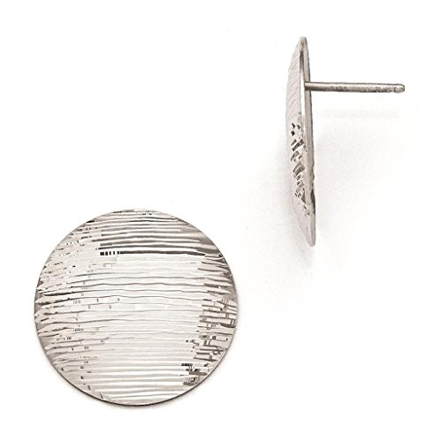 925 Sterling Silver Rhodium-plated Polished & Textured Round Disc Post Earrings 21mm x 21mm by (Textured Disc Earrings)