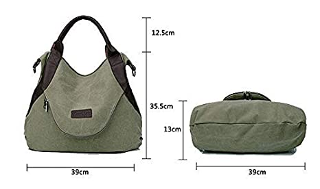 49c5d12b85e89 xiaoxiongmao Large Pocket Casual Women s Shoulder Cross body Handbags  Canvas Leather Bags (One Size
