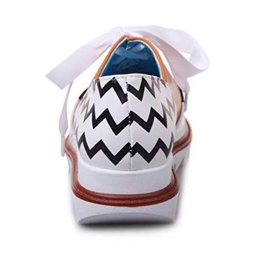 TAOFFEN Women Casual Lace Up Print Round Toe Flat Court Shoes Yellow p6pisPd