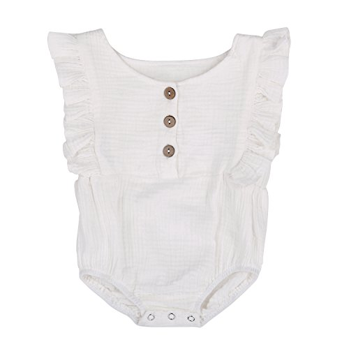Babe Basics Organic Baby Romper Organic Baby Clothes (White, - Bubble Smocked