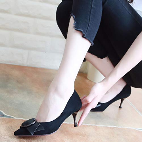 Shoes Fine Shoes Heel Shoes Mouth Black Heel Suede Pointed Thirty Single Women'S Autumn KPHY Bow Five 6Cm Shallow Metal High OFaw5FEx