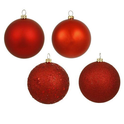 Vickerman 4-Finish Assorted Plastic Ornament Set & Seamless Shatterproof Christmas Ball Ornaments with Drilled Cap, Assorted 4 per Bag, 6