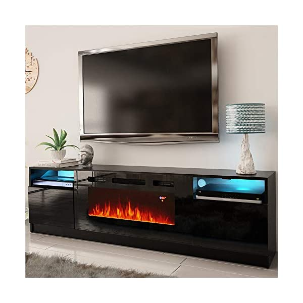 "MEBLE FURNITURE & RUGS York 02 Electric Fireplace Modern 79"" TV Stand"