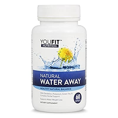 Natural Water Away Herbal Diuretic Supplement for Healthy Weight Loss & Water Balance | Mega Blend with Dandelion, Green Tea, Potassium, and More 60 Capsules
