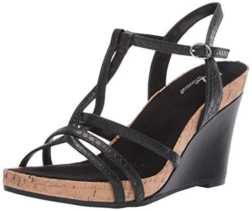 Aerosoles A2 Women's Plushed Nickel Wedge Sandal Black Snake 11 M -