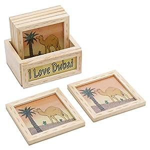 Aventus 6 Wooden I Love Dubai Coaster with Holder - Beige