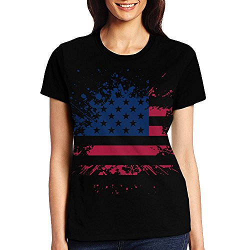 Ritsst Girls Casual Crewneck Short Sleeve American Independence Paint Top Tunics Blouse T-Shirts For Woman