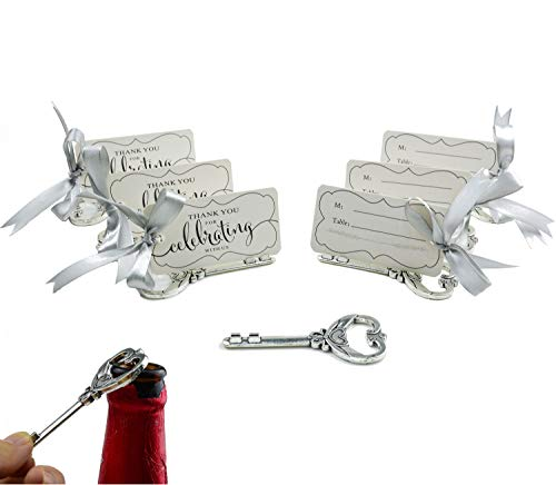 50pcs Multi Function Vintage Skeleton Key Bottle Opener Place Card Holders for Weddings Table Name Cards for Guest Souvenir (Antique Silver)