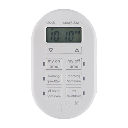myTouchSmart Programmable Indoor Digital Timer, Plug In, 1 Outlet Polarized, 2 Custom On/Off Times, 24 Hour Countdown, 3 Daily Preset Options, for Lamps, Seasonal Lighting, and Small Appliances, 26892