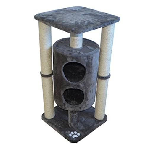 Iconic Pet Sisal Scratching Cat Furniture/Tree House with Dual Cave in Taupe Color - Cat Friendly Design, Durable Plush Lounge, Sisal Roped Multiple Scratching Towers, Cozy Bed for Kittens