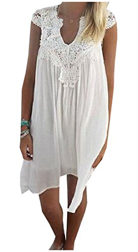 Size White Coolred Plus Mid Sleeve Dress Women Lace Short Splice Beach S11qvE
