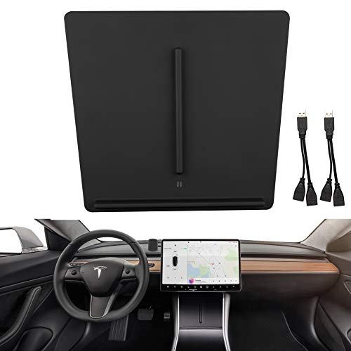 LZSTech Wireless Charger for Tesla Model 3 Car Center Console Wireless Phone Charging Pad Customized for Tesla Model 3 Accessories Packaged with 2 USB Splitters