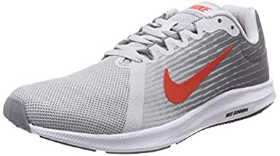Nike Men's Downshifter 8 Running Shoes, Pure Platinum/Habanero Red-Stealth-Black, 7.5 US