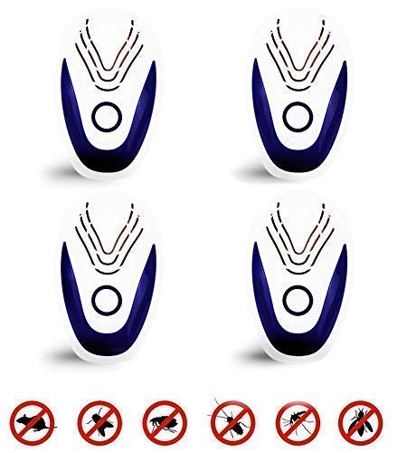 ULTRASONIC BLUE/Ultrasonic Pest Repeller Portable Plug-in Control (4-Pack) Electronic Insect Repellent Non-Toxic Gets Rid Mosquito Bed Bugs Roach Spiders Fleas Mice Ants Fruit Fly