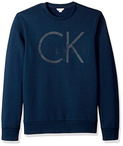 Calvin Klein Crew Sweater - Calvin Klein Men's Logo Crew Neck Sweatshirt, Atlantis, Small