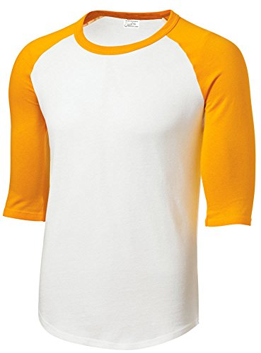 Mens or Youth 3/4 Sleeve 100% Cotton Baseball Tee Shirts White/Gold  Youth Medium -