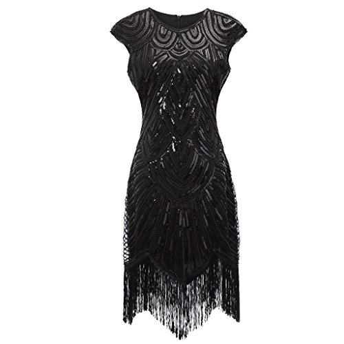 Colorful House Women's 1920s Sequin Beaded Fringed Cocktail Flapper Dress( Luxury Black,XL )