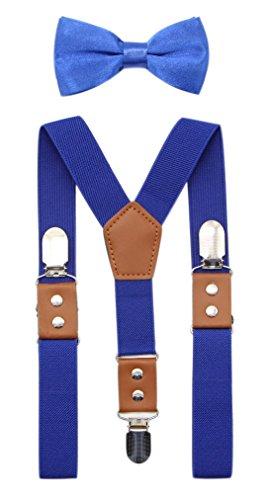JAIFEI Suspender & Bowtie Set For Men, Teens & Boys | Long Elastic Band, Durable Plastic Teeth & High End PU Leather (Boys(32 Inches), Royal Blue)