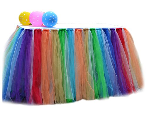 7 Color Rainbow (7 Colors Rainbow Table Skirts Tulle Tutu Table Cloth Cover for Party Decoration Home)