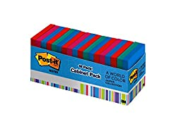 Post-it Notes, 3 x 3-Inches, Jaipur Collection, 18 Pads/Cabinet Pack
