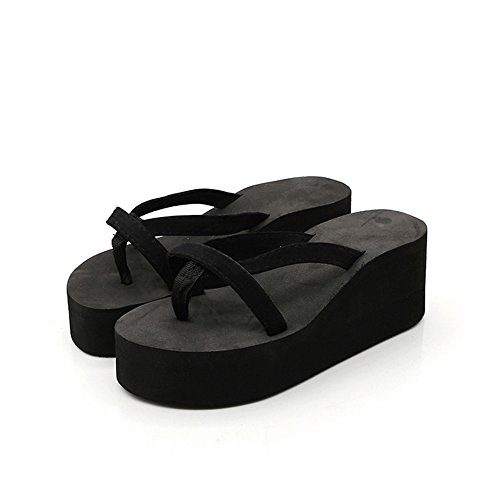 Youthny Women's Casual Summer High Platform Flip-Flops Sandals Shoes (35, Balck) from Youthny