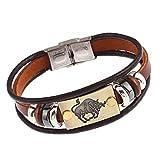 Wintefei Constellations Unisex Retro Wooden Beads Faux Leather Bracelet Bangle - Taurus