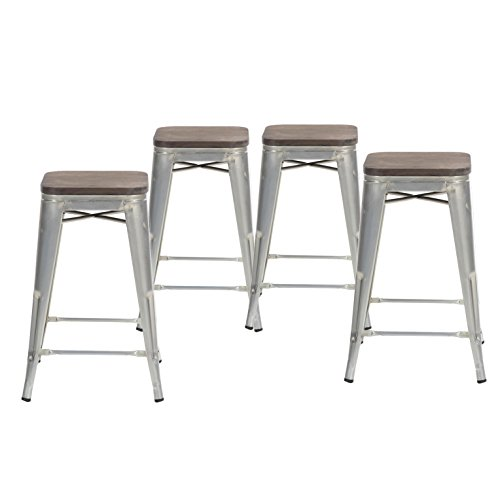 Back Wood Seat Stool (Buschman Set of Four Galvanized Wooden Seat 24 Inches Counter Height Tolix-Style Metal Bar Stools, Indoor/Outdoor, Stackable)