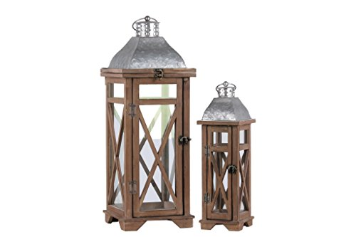 (Urban Trends Wood Square Ring Handle, Galvanized Metal Top and Cross Design Body Set of Two Natural Finish Brown Lantern, 2 Piece)