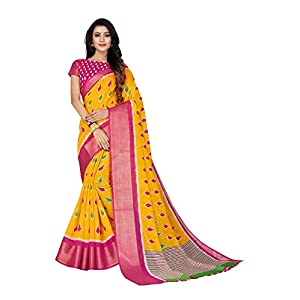 Divine International Trading Co Women's Cotton Patola Printed Pochampally ikat Saree With 5 inch Zari border With Unstitched Blouse Piece