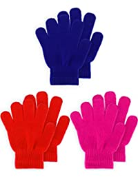 Kids Gloves Full Fingers Knitted Gloves Warm Mitten Winter Favor for Little Boys and Girls (Color Set 2, 7-11 Years Size, 3 Pairs)