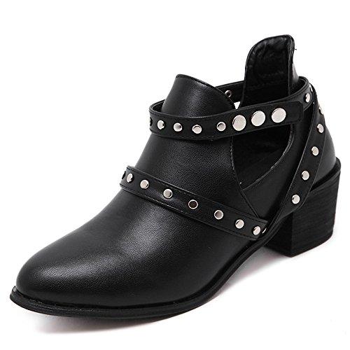 PU Women Shoes Wood High Heel Short Martin Boots Belt Buckle Black - Womens Cowboy Boots Size12