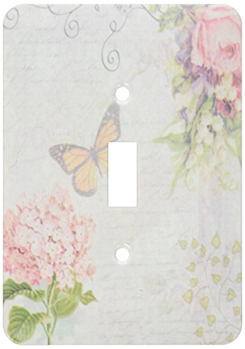 3dRose lsp_76596_1 Vintage Flowers Handwriting and Butterfly Pretty Summer Garden Girly Collage Swirls and Leaves Single Toggle Switch