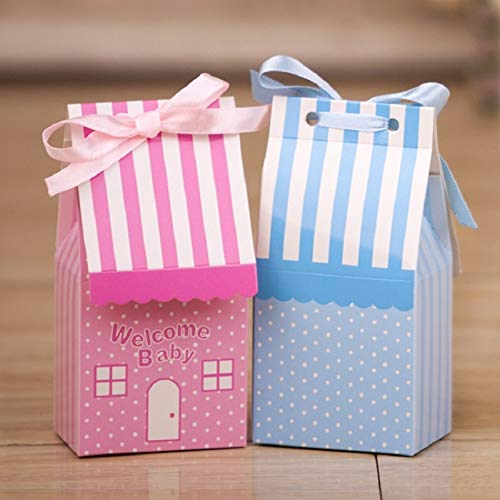 Treat Bags - 500pcs Small House Blue Pink Tie Ribbon Birthday Boy Baby Shower Favor Candy Treat Bag Wedding - Leaves Oreos Gift Red Lego Dots Reusable Popcorn Snowflake Opal -