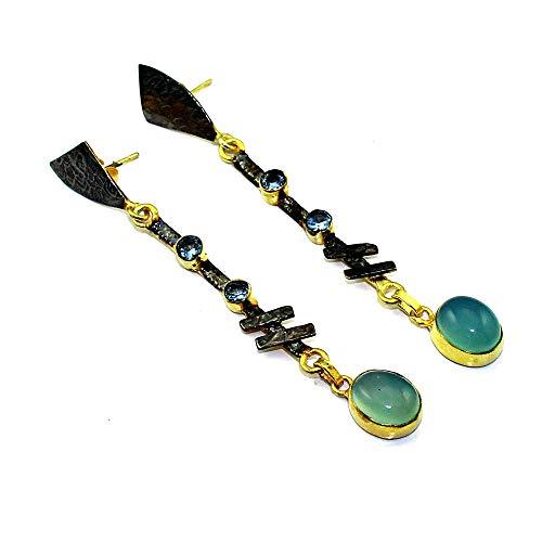 Chalcedony Blue Topaz Earring 925 Sterling Silver Overlay Jewelry (Blue Earrings Topaz Chalcedony)