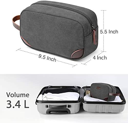 Men's Travel Toiletry Organizer Bag Canvas Shaving Dopp Kit TSA Approved (Grey)