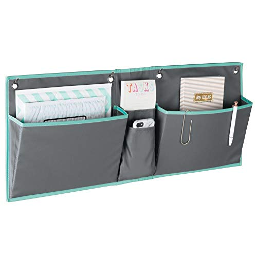 mDesign Soft Wide Fabric Hanging Home Office, Cubicle Storage Organizer, 2 Pocket Organization - Holds Office Supplies, File Folder, Planner, Journal - Hang Over Cubicle Wall or Door - Dark Gray/Teal
