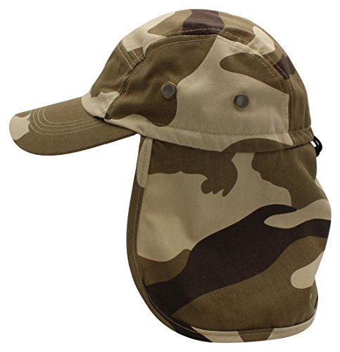 Top Level Fishing Sun Cap UV Protection - Ear and Neck Flap Hat, Desert CAM (Desert Cam)