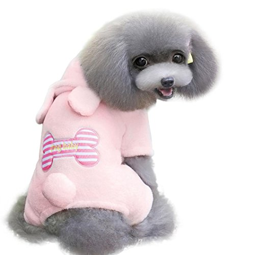 Puppy Clothes,Neartime Dogs Bone Coral Cashmere Pet Soft Warm Jumpsuit Doggy (S, Pink) Cashmere Bone China